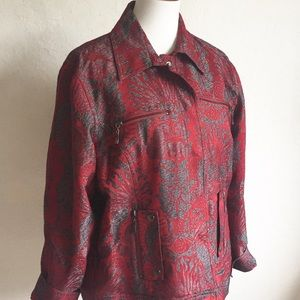 Chico's Red Floral Tapestry Jacket 16